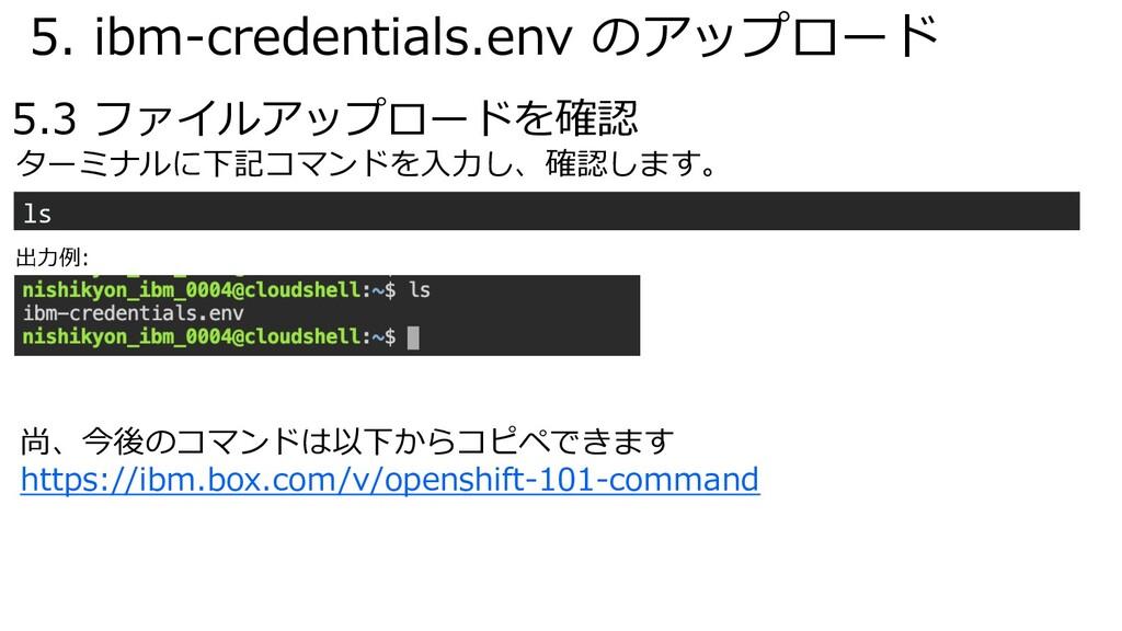 5. ibm-credentials.env のアップロード 5.3 ファイルアップロードを確...