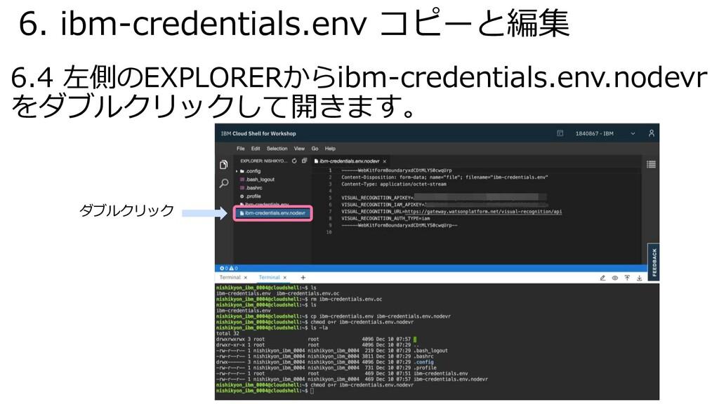 6. ibm-credentials.env コピーと編集 6.4 左側のEXPLORERから...