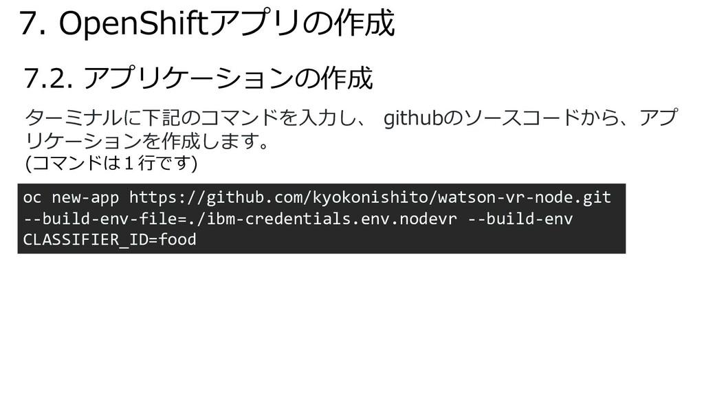 7.2. アプリケーションの作成 ターミナルに下記のコマンドを⼊⼒し、 githubのソースコ...