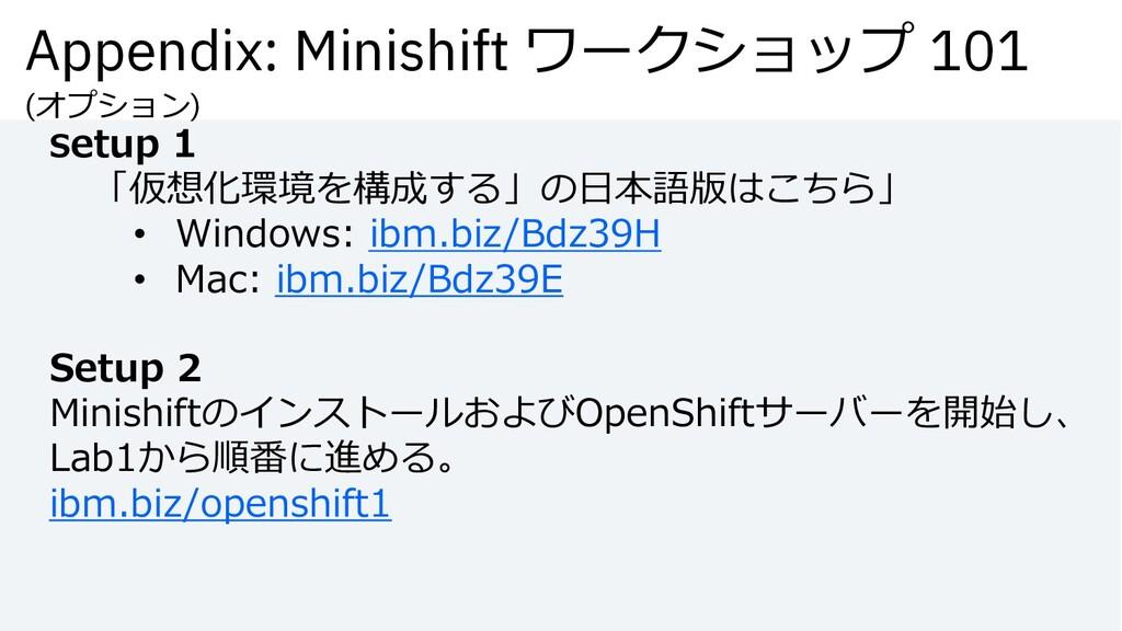 Appendix: Minishift ワークショップ 101 (オプション) Setup 1...