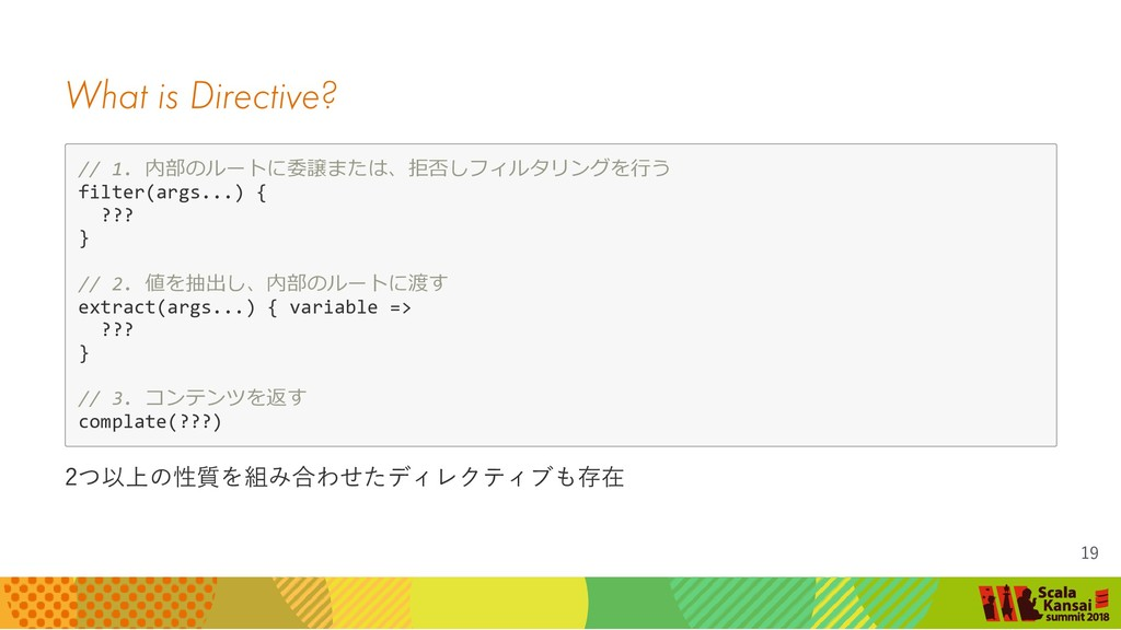 What is Directive? // 1. 内部のルートに委譲または、拒否しフィルタリン...