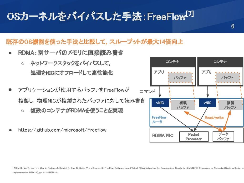 OSカーネルをバイパスした手法:FreeFlow[7] 6 既存のOS機能を使った手法と比...
