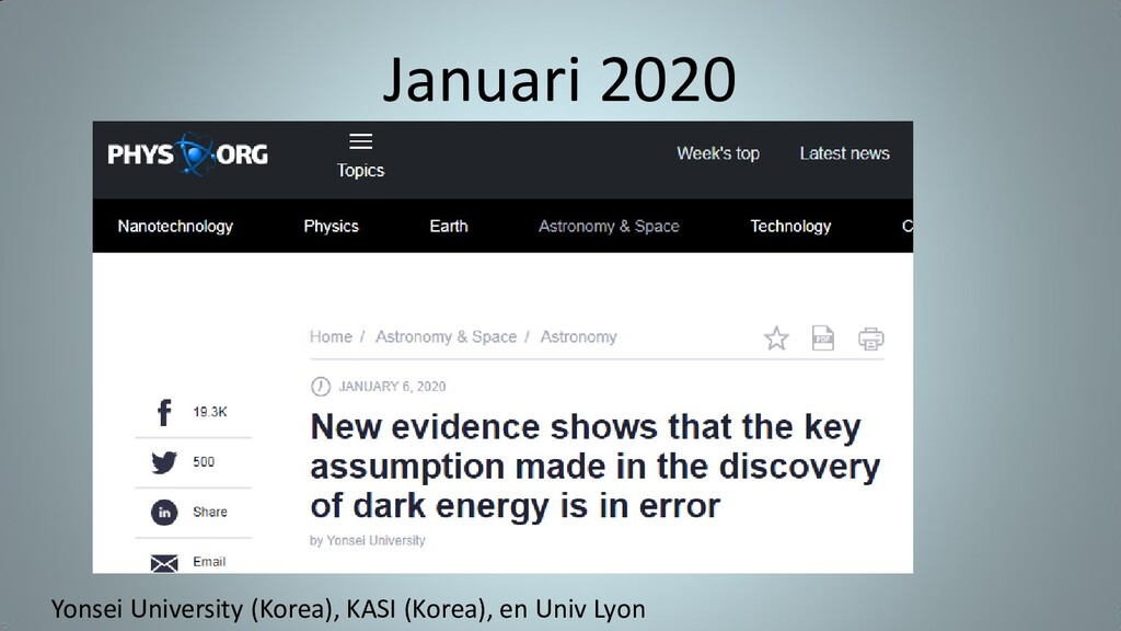 Januari 2020 Yonsei University (Korea), KASI (K...