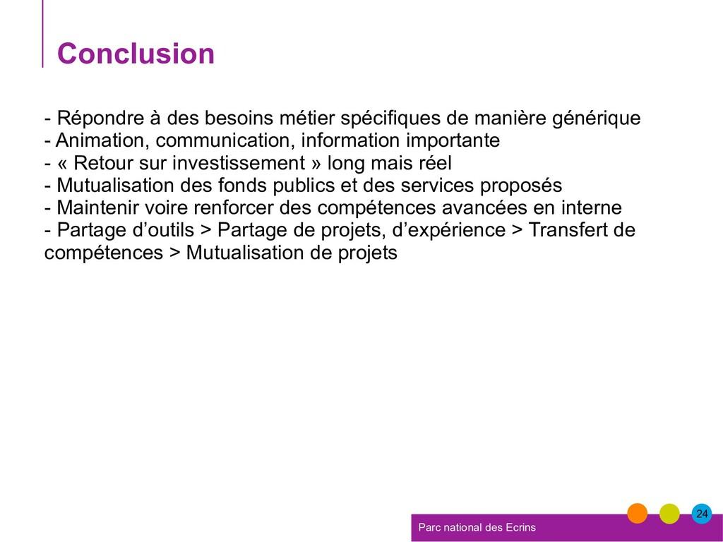 24 Parc national des Ecrins Conclusion - Répond...