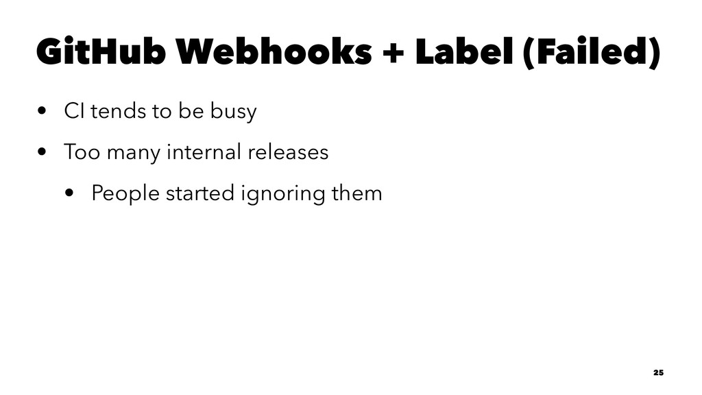 GitHub Webhooks + Label (Failed) • CI tends to ...