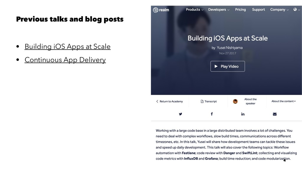 Previous talks and blog posts • Building iOS Ap...