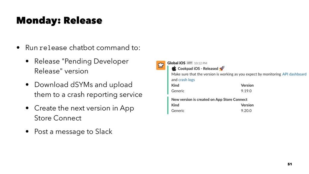 Monday: Release • Run release chatbot command t...