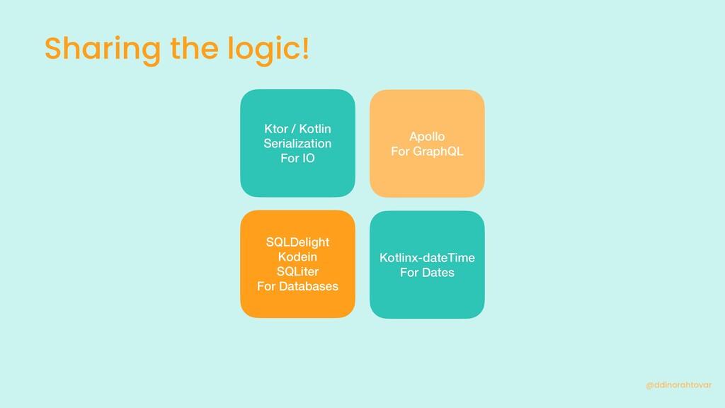Sharing the logic! @ddinorahtovar Ktor / Kotlin...
