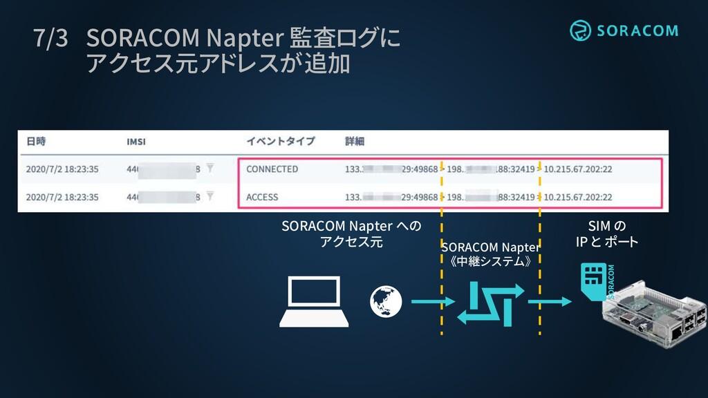 7/3 SORACOM Napter 監査ログに アクセス元アドレスが追加 SORACOM N...