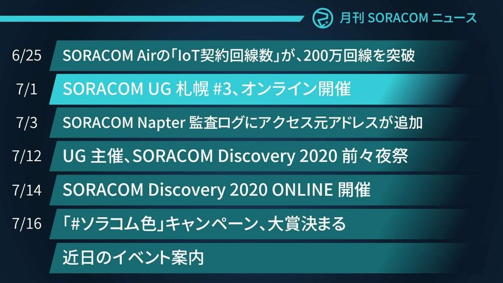 SORACOM UG 札幌 #3、オンライン開催