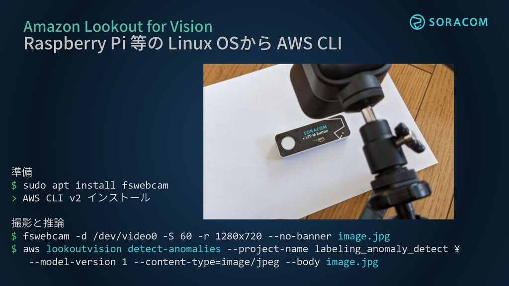 Amazon Lookout for Vision Raspberry Pi 等の Linux...