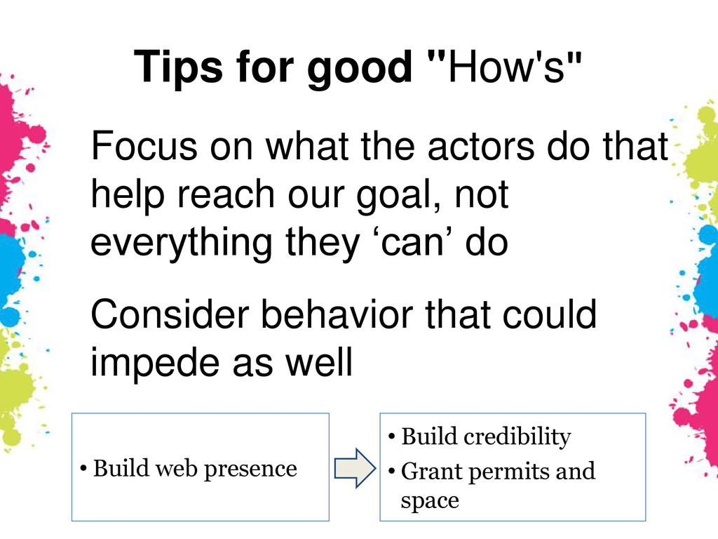 "Tips for good ""How's"" • Build web presence • Bu..."