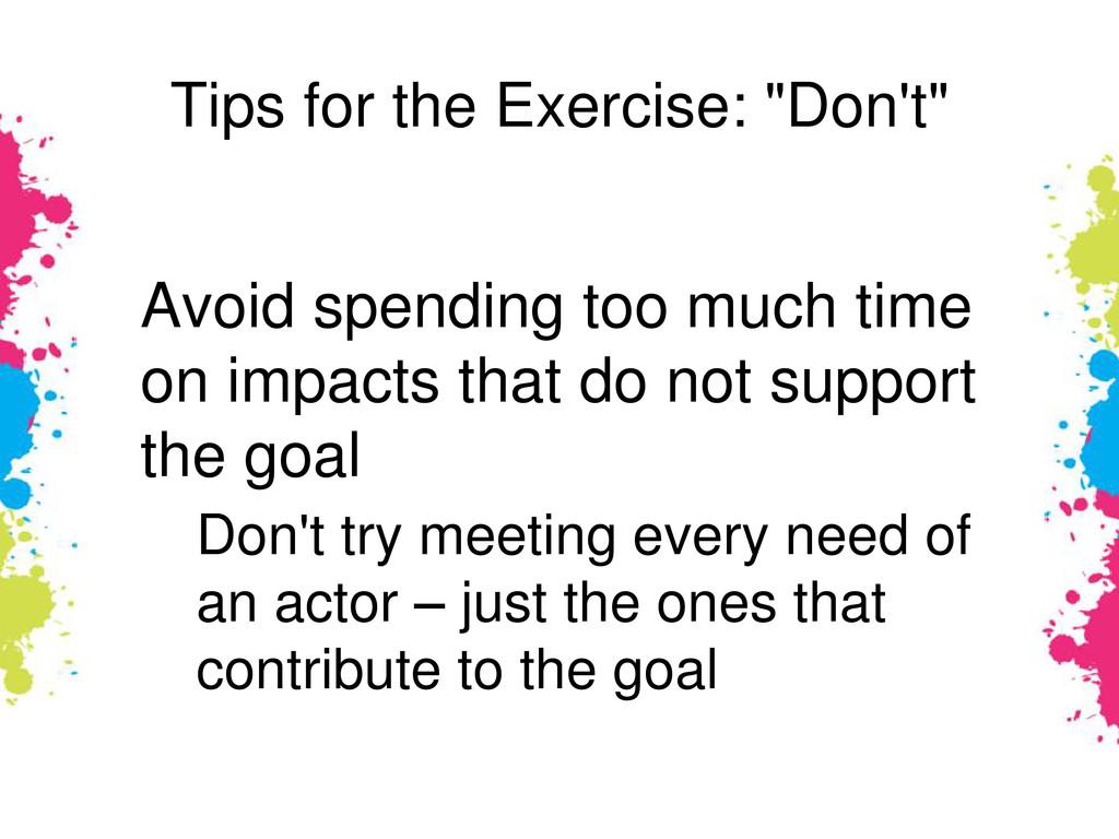 """Tips for the Exercise: """"Don't"""" Avoid spending t..."""