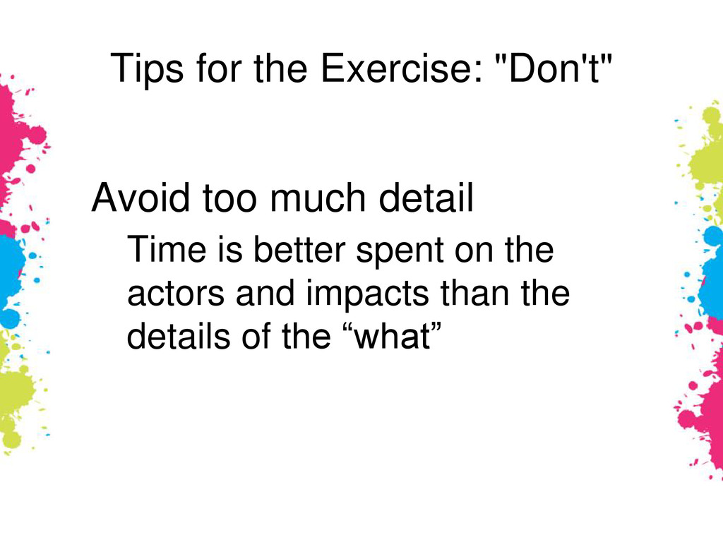 """Tips for the Exercise: """"Don't"""" Avoid too much d..."""