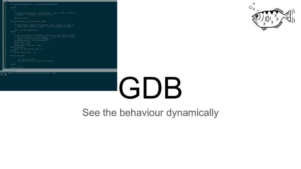 GDB See the behaviour dynamically