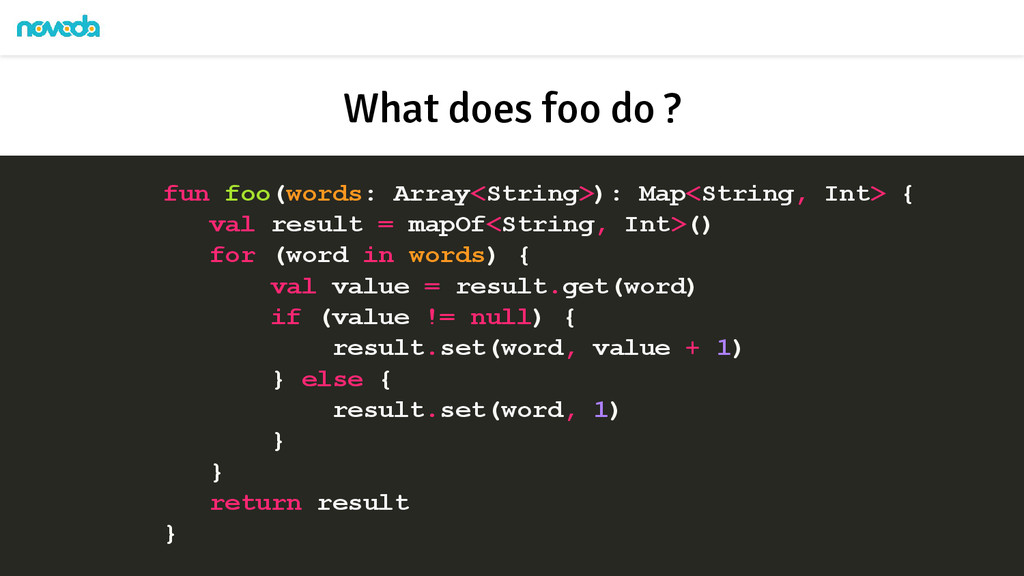 fun foo(words: Array<String>): Map<String, Int>...