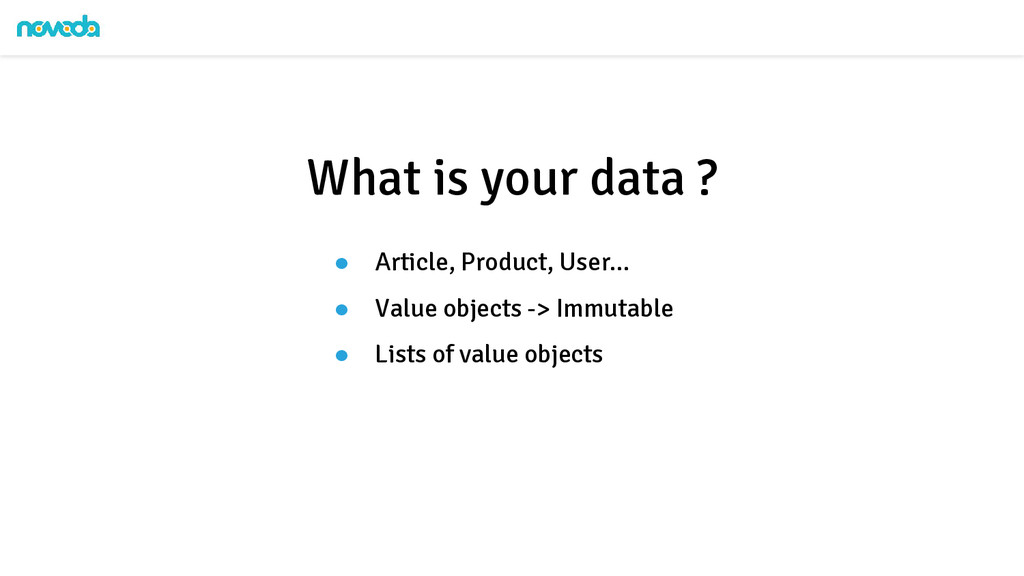 ● Article, Product, User... ● Value objects -> ...