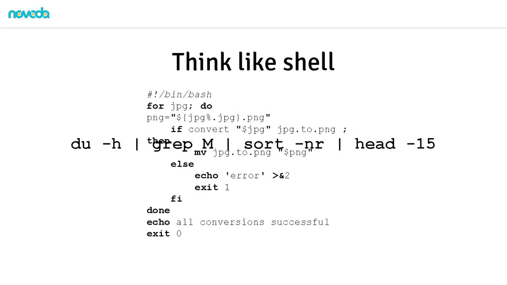 "Think like shell #!/bin/bash for jpg; do png=""$..."