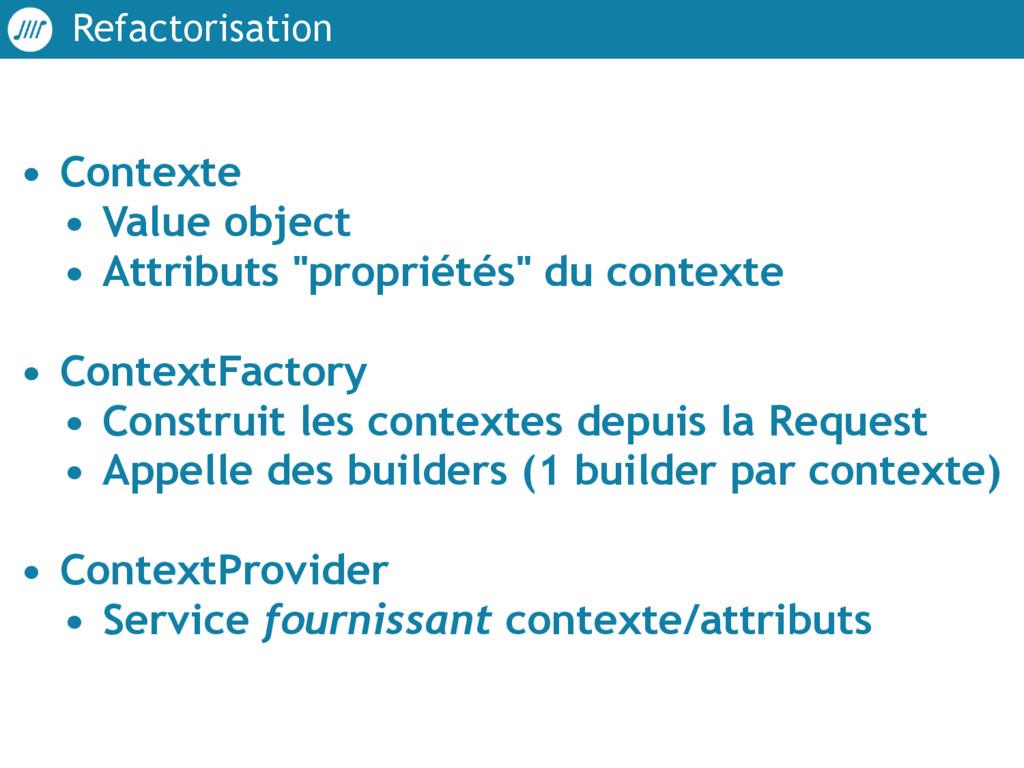 Refactorisation • Contexte • Value object • Att...