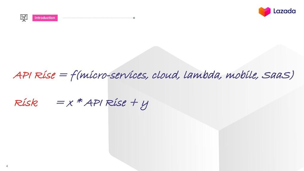 4 Introduction API Rise = f(micro-services, clo...