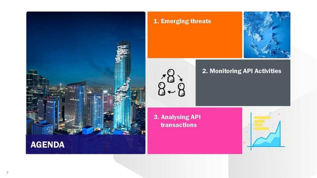 7 1. Emerging threats 2. Monitoring API Activit...