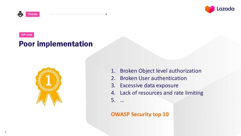 9 Threats Poor implementation API side 1. Broke...