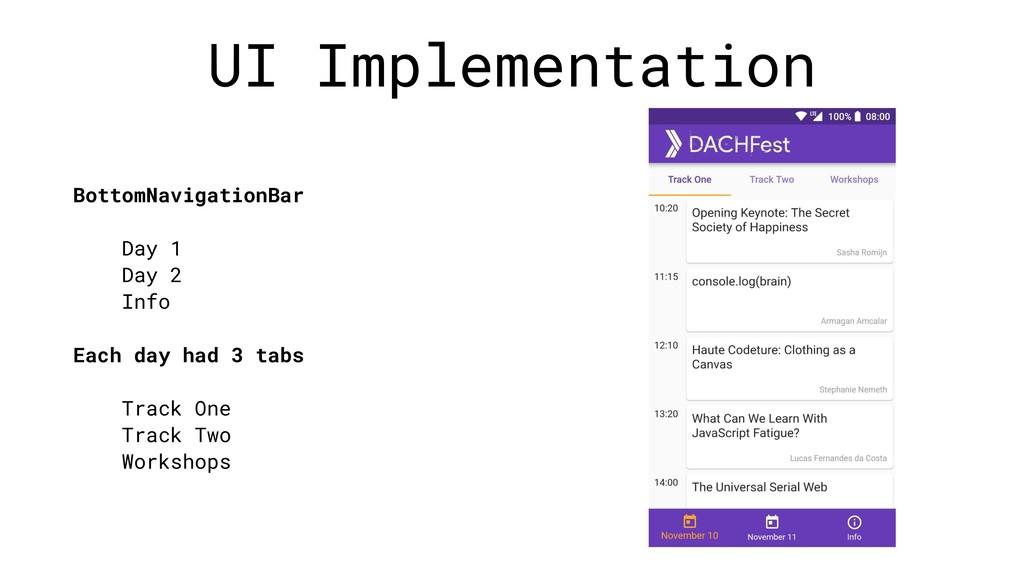 UI Implementation BottomNavigationBar Day 1 Day...