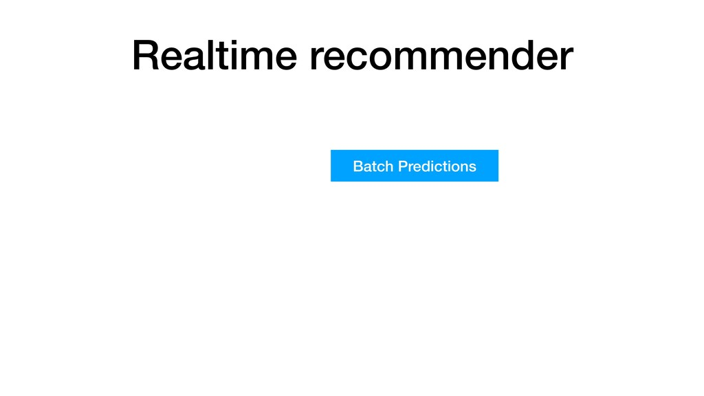 Realtime recommender Batch Predictions