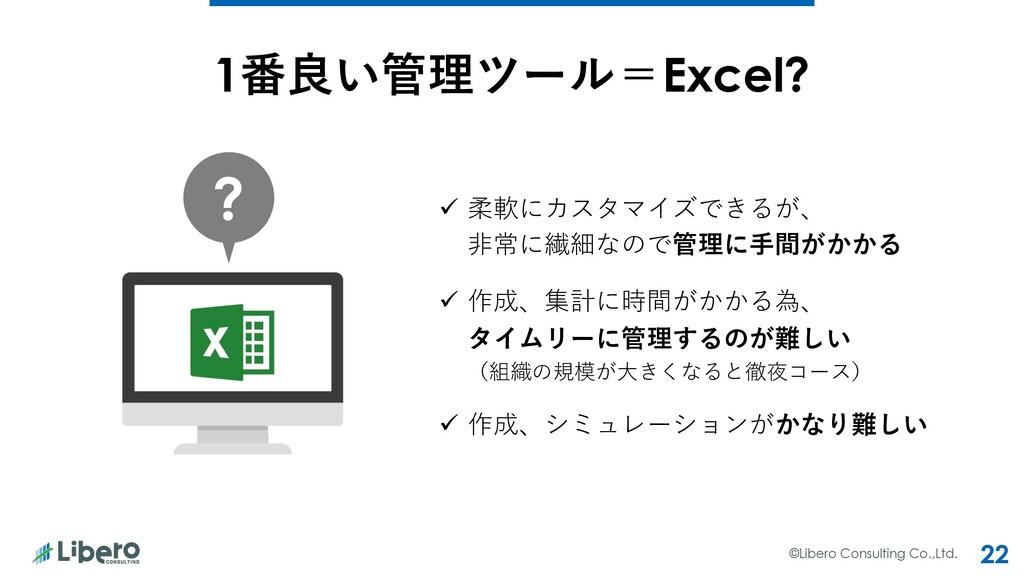 ©Libero Consulting Co.,Ltd. 22 1番良い管理ツール=Excel?...
