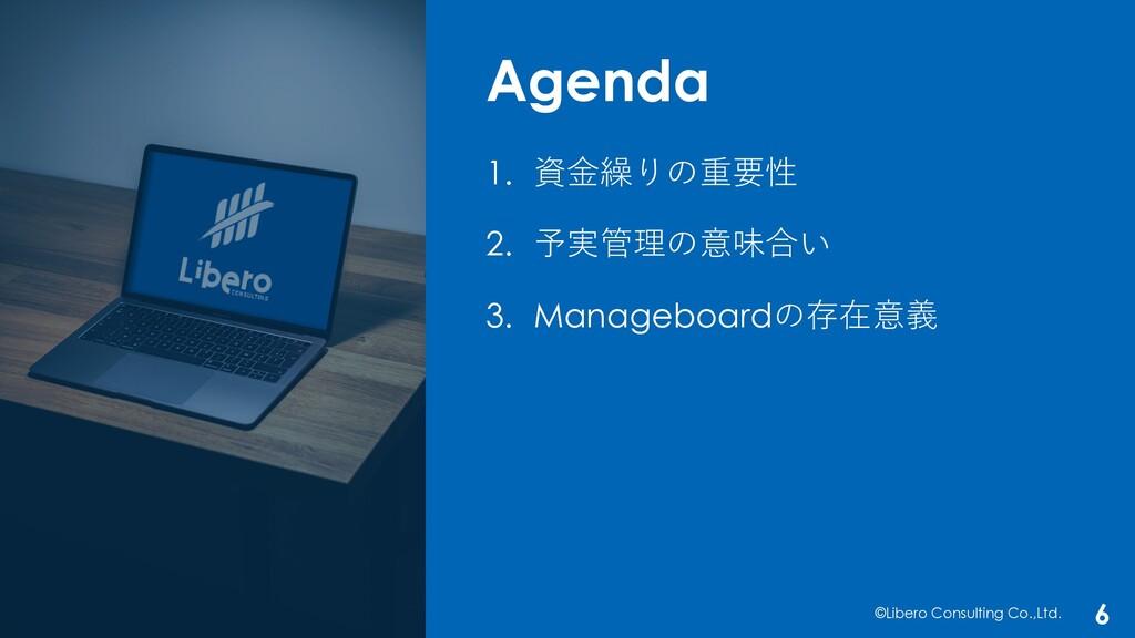 Agenda ©Libero Consulting Co.,Ltd. 6 1. 資⾦繰りの重要...