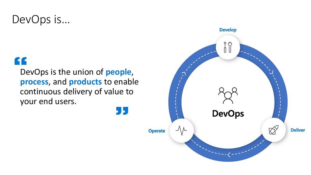 DevOps is… DevOps is the union of people, proce...