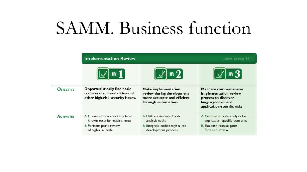 SAMM. Business function