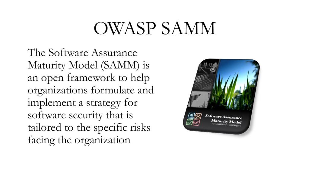 OWASP SAMM The Software Assurance Maturity Mode...