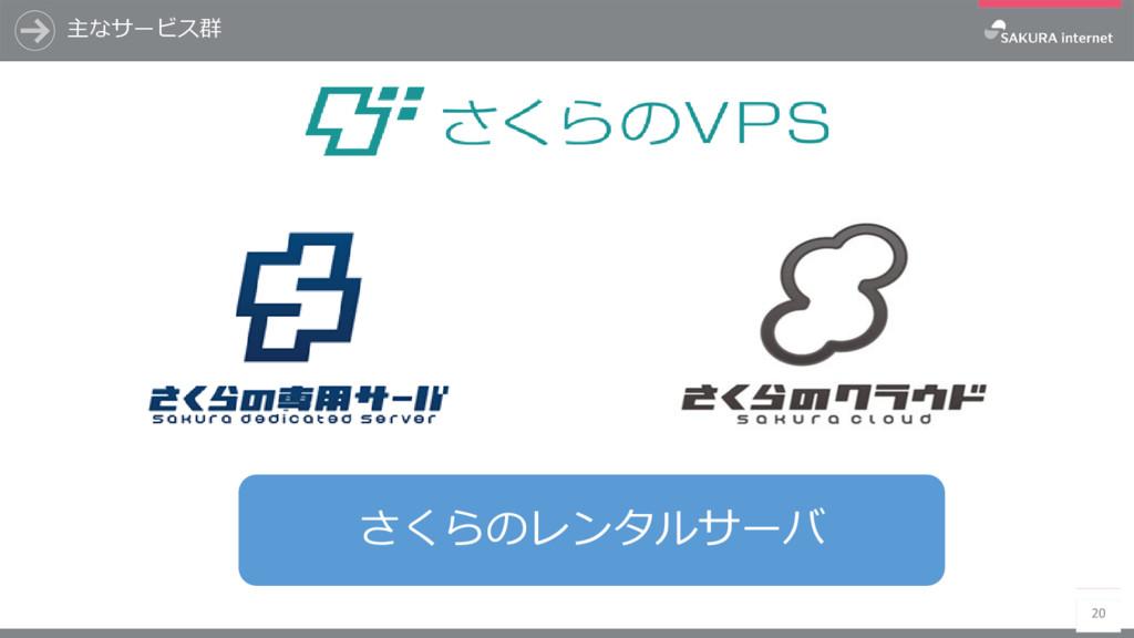 主なサービス群 20 さくらのレンタルサーバ
