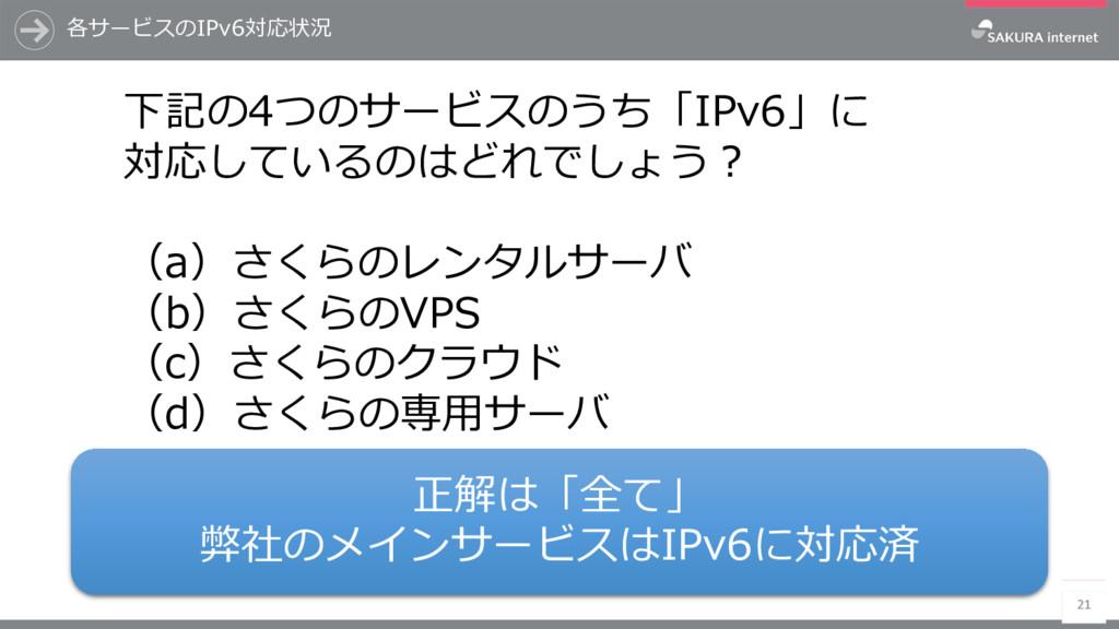 各サービスのIPv6対応状況 21 下記の4つのサービスのうち「IPv6」に 対応しているのは...