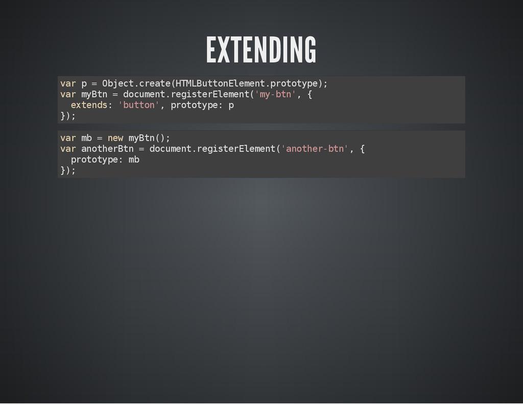 EXTENDING v a r p = O b j e c t . c r e a t e (...