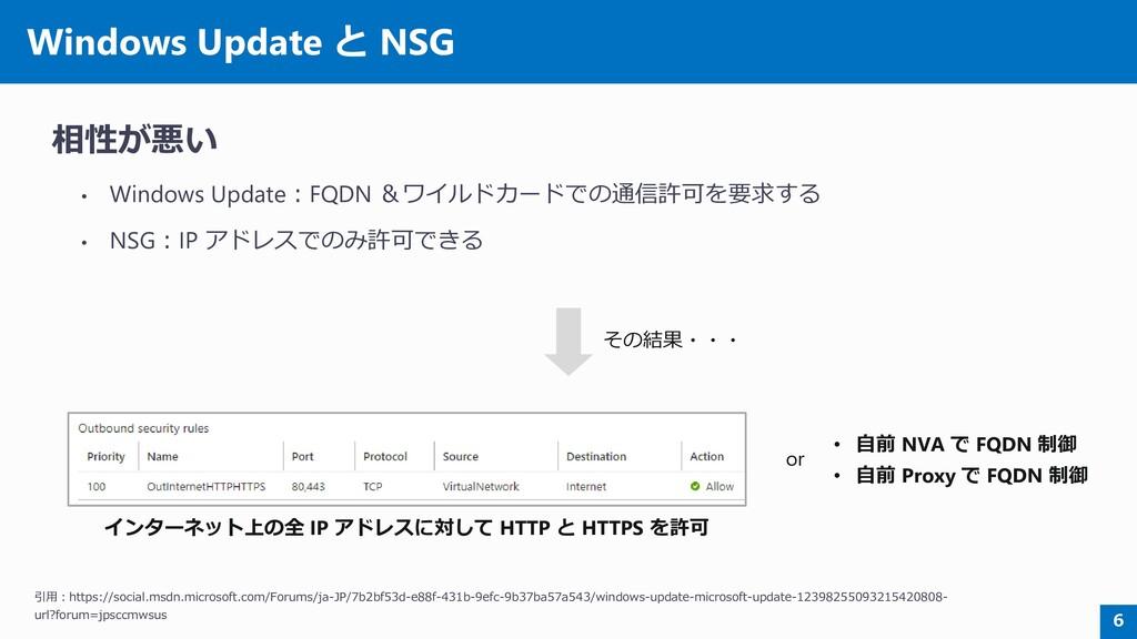 Windows Update と NSG 相性が悪い • Windows Update:FQD...