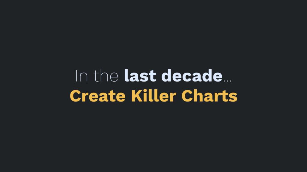 In the last decade... Create Killer Charts