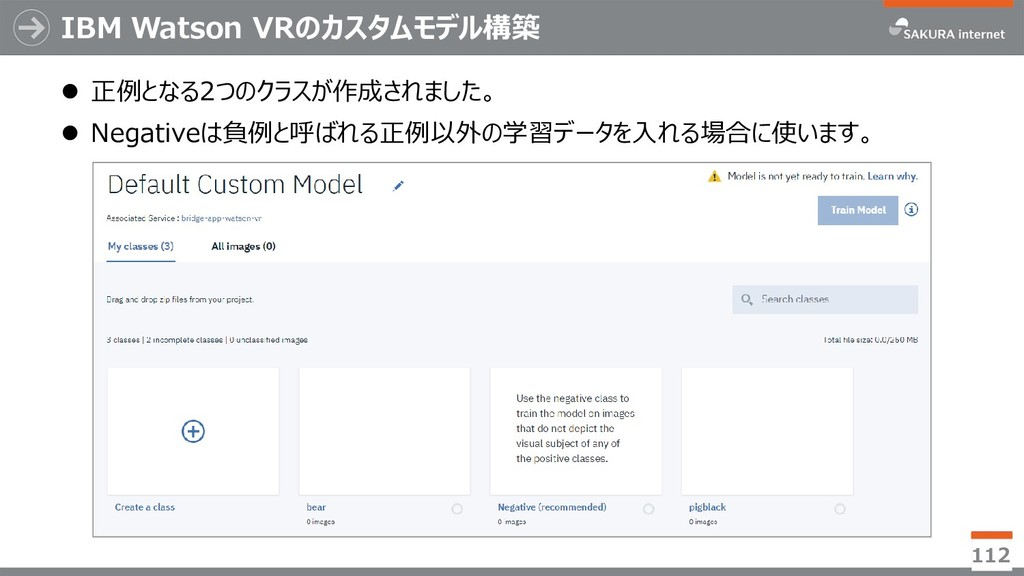 IBM Watson VRのカスタムモデル構築  正例となる2つのクラスが作成されました。 ...