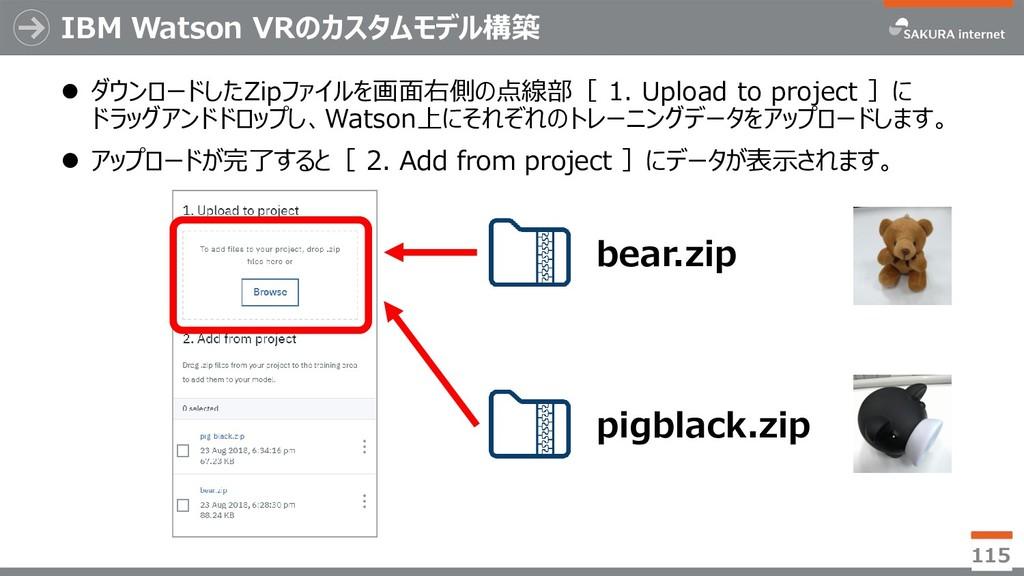 IBM Watson VRのカスタムモデル構築  ダウンロードしたZipファイルを画面右側の...