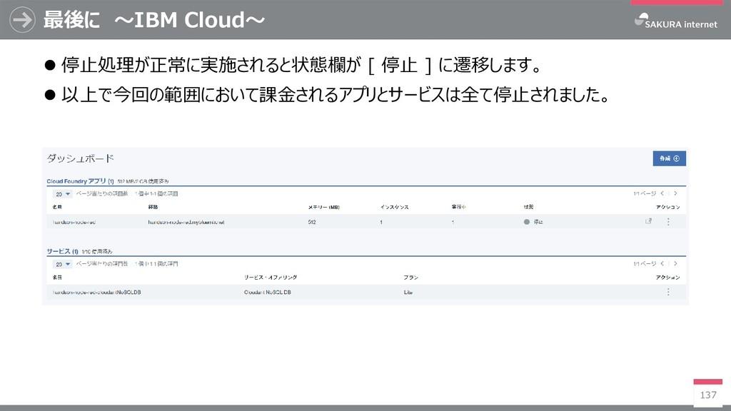 最後に ~IBM Cloud~ 137  停止処理が正常に実施されると状態欄が [ 停止 ]...