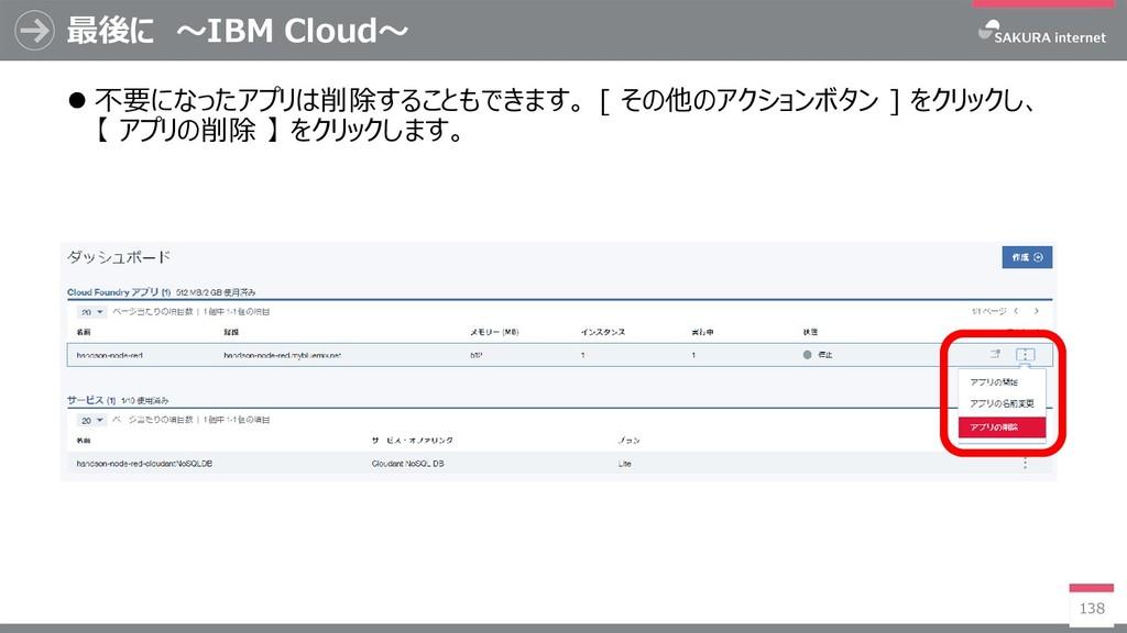 最後に ~IBM Cloud~ 138  不要になったアプリは削除することもできます。 [ ...