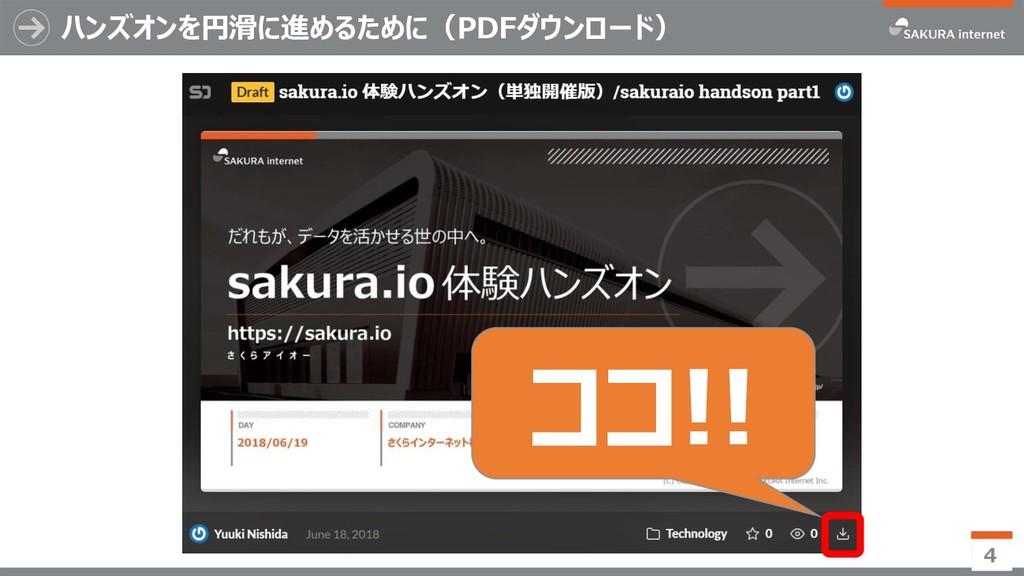 ハンズオンを円滑に進めるために(PDFダウンロード) 4 ココ!!