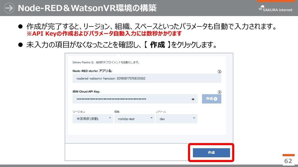 Node-RED&WatsonVR環境の構築 62  作成が完了すると、リージョン、組織、ス...