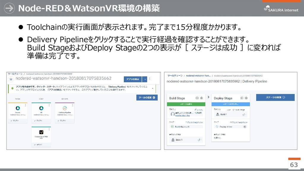 Node-RED&WatsonVR環境の構築 63  Toolchainの実行画面が表示され...