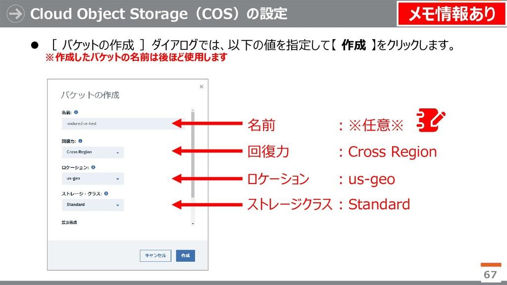 Cloud Object Storage(COS)の設定 67  [ バケットの作成 ]ダイ...