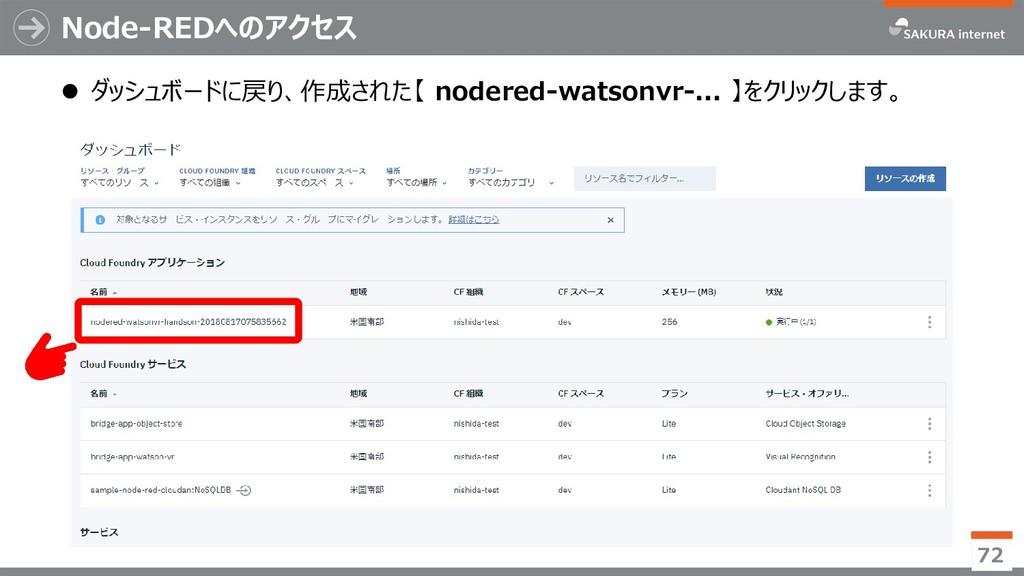 Node-REDへのアクセス 72  ダッシュボードに戻り、作成された【 nodered-w...