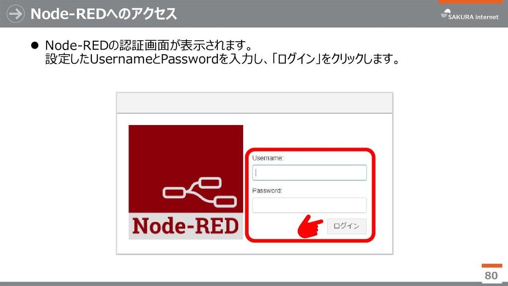 Node-REDへのアクセス 80  Node-REDの認証画面が表示されます。 設定したU...