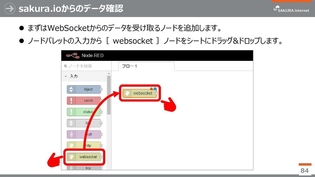 sakura.ioからのデータ確認  まずはWebSocketからのデータを受け取るノードを...