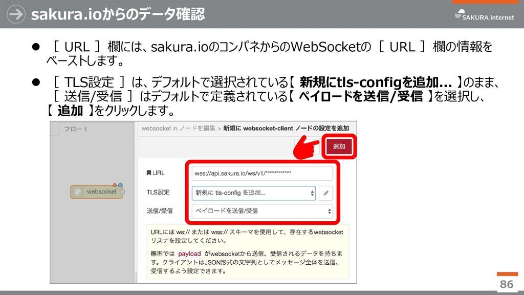 sakura.ioからのデータ確認  [ URL ]欄には、sakura.ioのコンパネから...